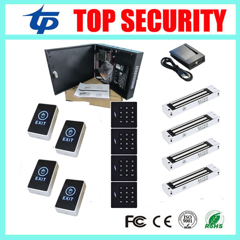 ZK C3-400 door access control with KR102E card reader weigand, touch exit button and EM lock 4 doors access control panel outdoor mf 13 56mhz weigand 26 door access control rfid card reader with two led lights