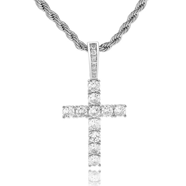 S925 Sterling Silver Prong Setting AAA CZ Stone Bling Ice Out Cross  Pendants Necklaces Women Men Hip Hop Rapper Jewelry