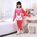 Crianças Pijama de Flanela Grossa de Inverno Meninas Sleepwear Terno Criança Homewear Roupas Coelho Dos Desenhos Animados Pijamas Conjunto Pijamas