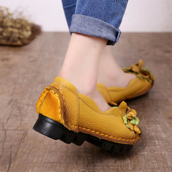 2019 Casual Women Shoes Genuine Leather Ladies Shoes Flower Loafers Zapatos De Mujer Talon Femme 1