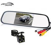 HD Video Auto Parking Monitor LED Night Vision Reversing CCD Car Rear View Camera With 4.3 inch Car Rearview Mirror Monitor