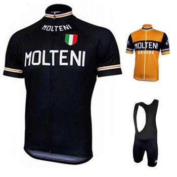 Molteni Camisa Da Equipe de Ciclismo Jersey Set Bic Ropa de ciclismo Mens Ciclismo Conjunto Abbigliamento Ciclismo Estivo 2019 Livre para o Brasil
