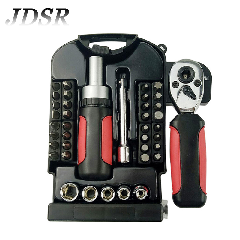 JDSR 40Pcs Multifunctional Precision Screwdriver Set Box Precision Ratchet Wrench Set Sleeve Universal Joint Tools Kit For Car 101 pieces of multifunctional screwdriver set ratchet sleeve combined computer maintenance tool