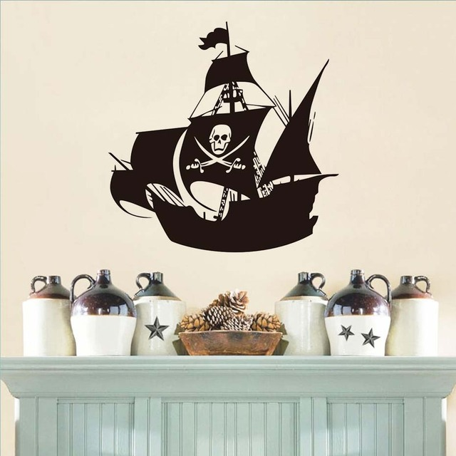 Free Shipping Cool Pirate Ship Wall Stickers Nursery Creative ...
