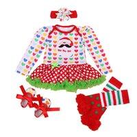 Infant baby girl sets Baby Christmas Santa Claus Novelty Costume clothing set bebes 1st festival gifts fashion Romper Tutu Dress