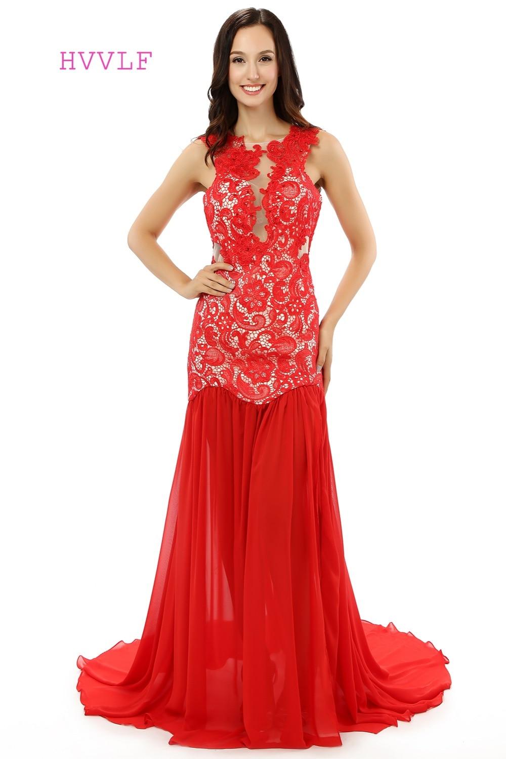 HVVLF 2019 robes de bal sirène bleu Royal rouge fente voir à travers la dentelle robe de bal robes de soirée robe de soirée