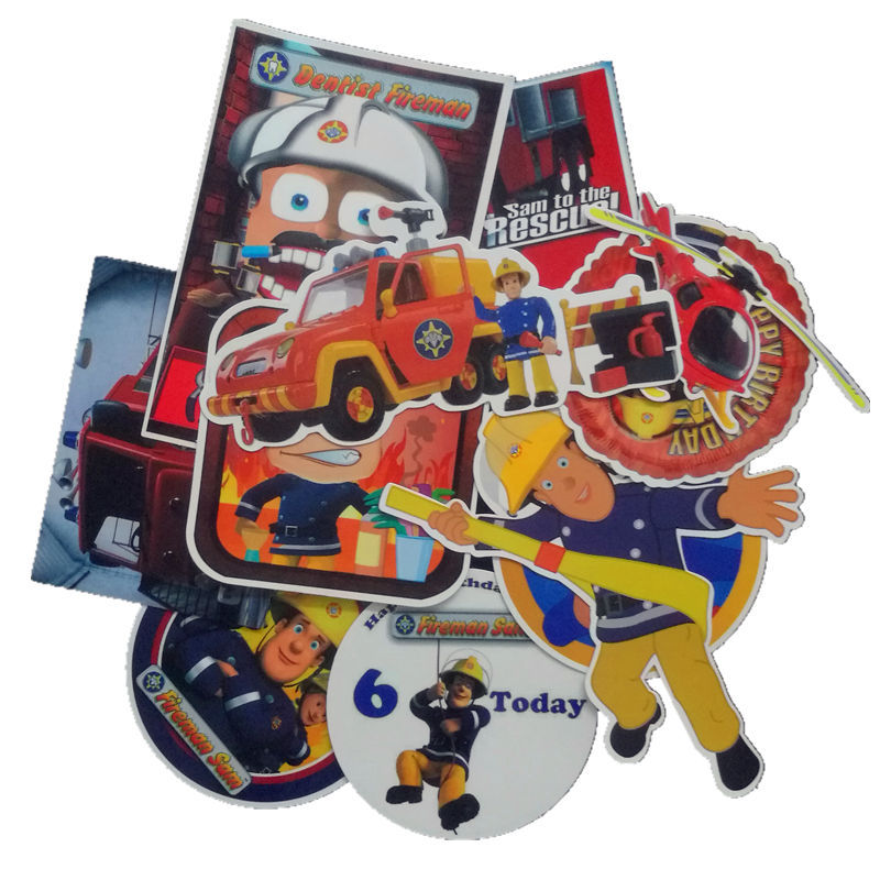 11pcs/pack Fireman Sam Adesivi Kids Stickers Cartoon For Luggage Wall Car Laptop Bicycle Motorcycle Laptop Cute Toys Aromatic Flavor Stationery Stickers