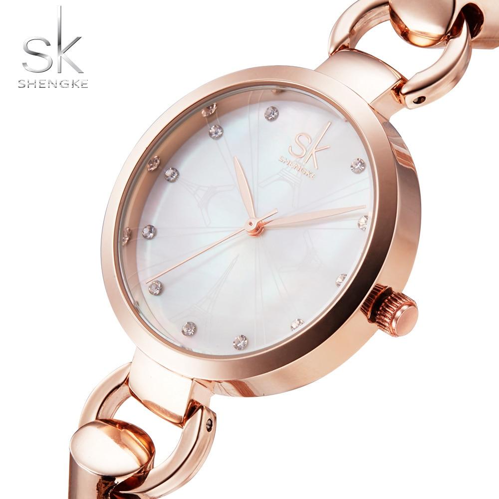 SK Nowe mody kobiet zegarki eleganckie różowe złoto diamenty - Zegarki damskie - Zdjęcie 3