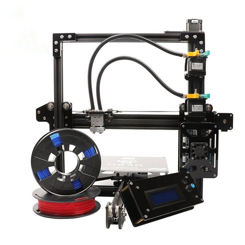 2018 le Plus Récent double buse En Aluminium D'extrusion 3D imprimante kit HE3D EI3 3D Imprimante avec 2 rolls filament + 8 gb carte SD comme cadeau