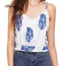 2017 Women Summer Leaf Print Cami Top Cold Shoulder Blouse female Shorts for women Brand New High Quality May 23