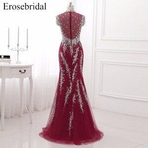 Image 2 - Erosebridal suknia wieczorowa na szyję syrenka długi luksusowy długi z koralikami formalne kobiety suknia wieczorowa Party Zipper powrót z mały pociąg