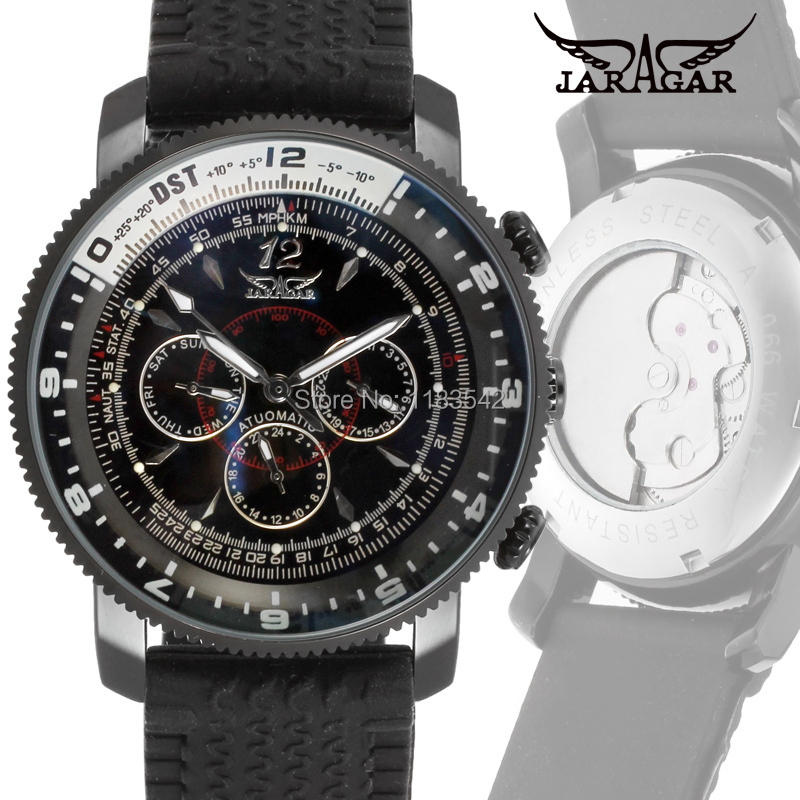 Подробнее о Jargar JAG6066M3B2  New men Automatic fashion watch black wristwatch For Men with silicone band best gift free shipping jargar jag6070m3s2 new men automatic fashion watch silver wristwatch for men with black leather strap best gift free ship