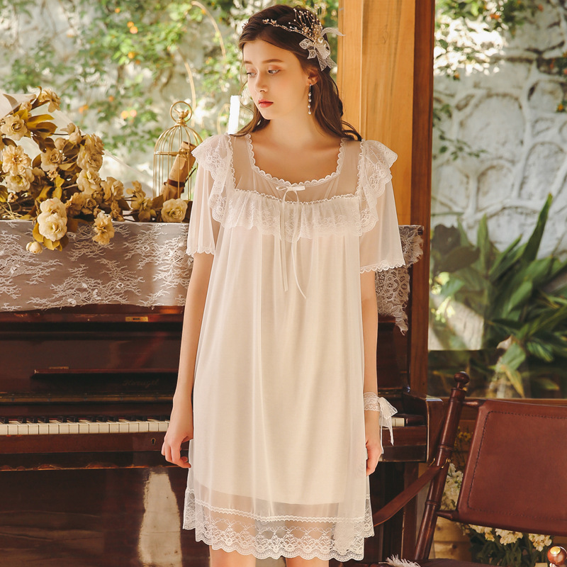 2019 New Summer Ruffles Lace Mini   Nightgowns   Women   Sleepshirts   Short Sleeve Nightdress Palace Princess Sleeping Dress White Pink