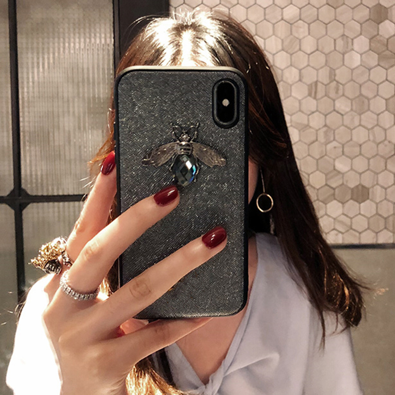 Luxury Fashion brand Diamond Bee Glitte soft case for iphone 6 S 7 8 plus X XR XS Max Cute Hard Cover for iphone 7 8 5 5S SE 6S (8)