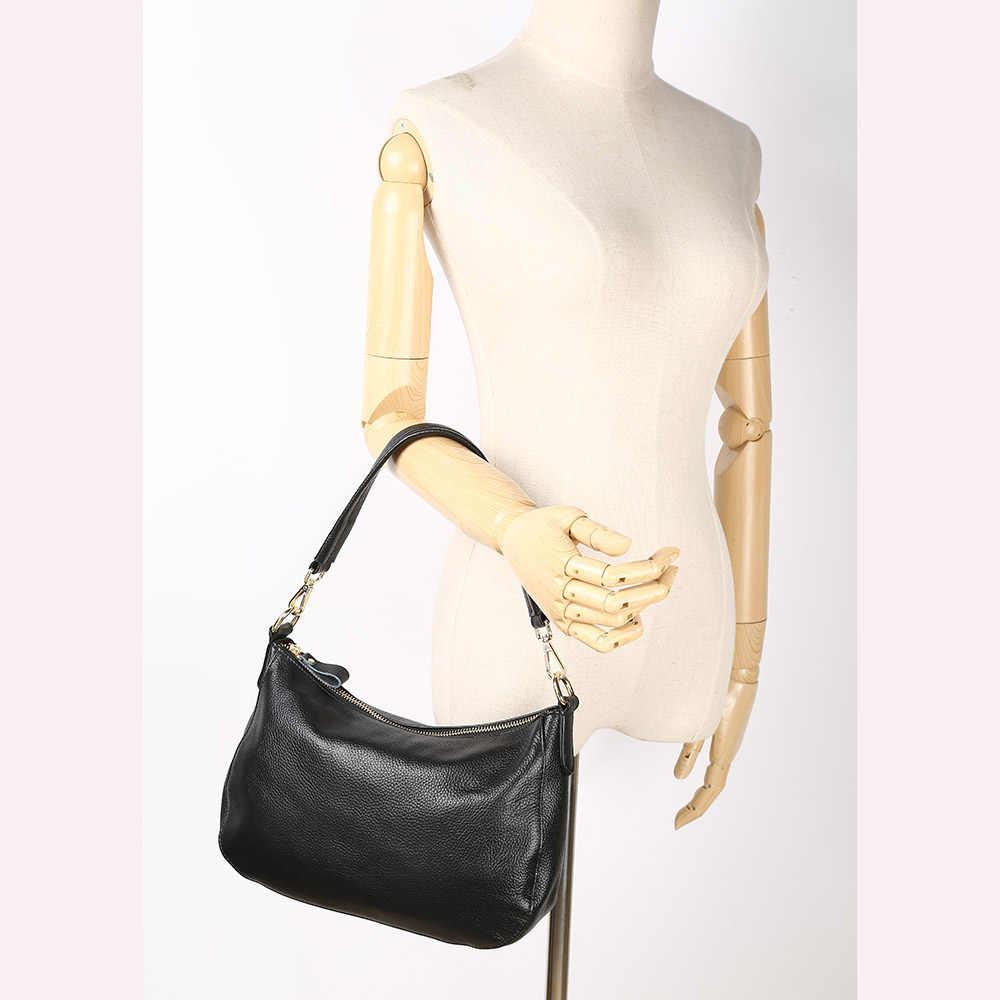 Zency модные черные Для женщин сумка 100% из натуральной кожи Сумки из натуральной кожи элегантные женские сумки через плечо, сумка почтальон, маленькие сумки Хобо