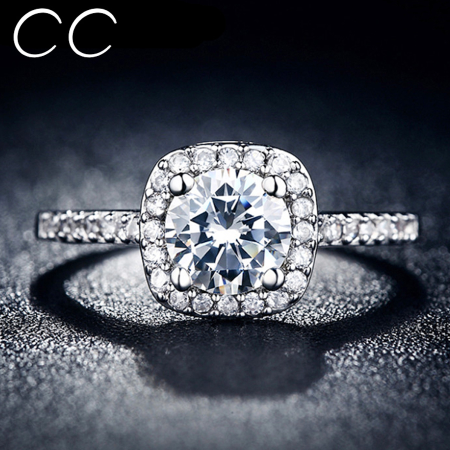 CC Jewelry Midi Finger Square Ring Engagement Wedding