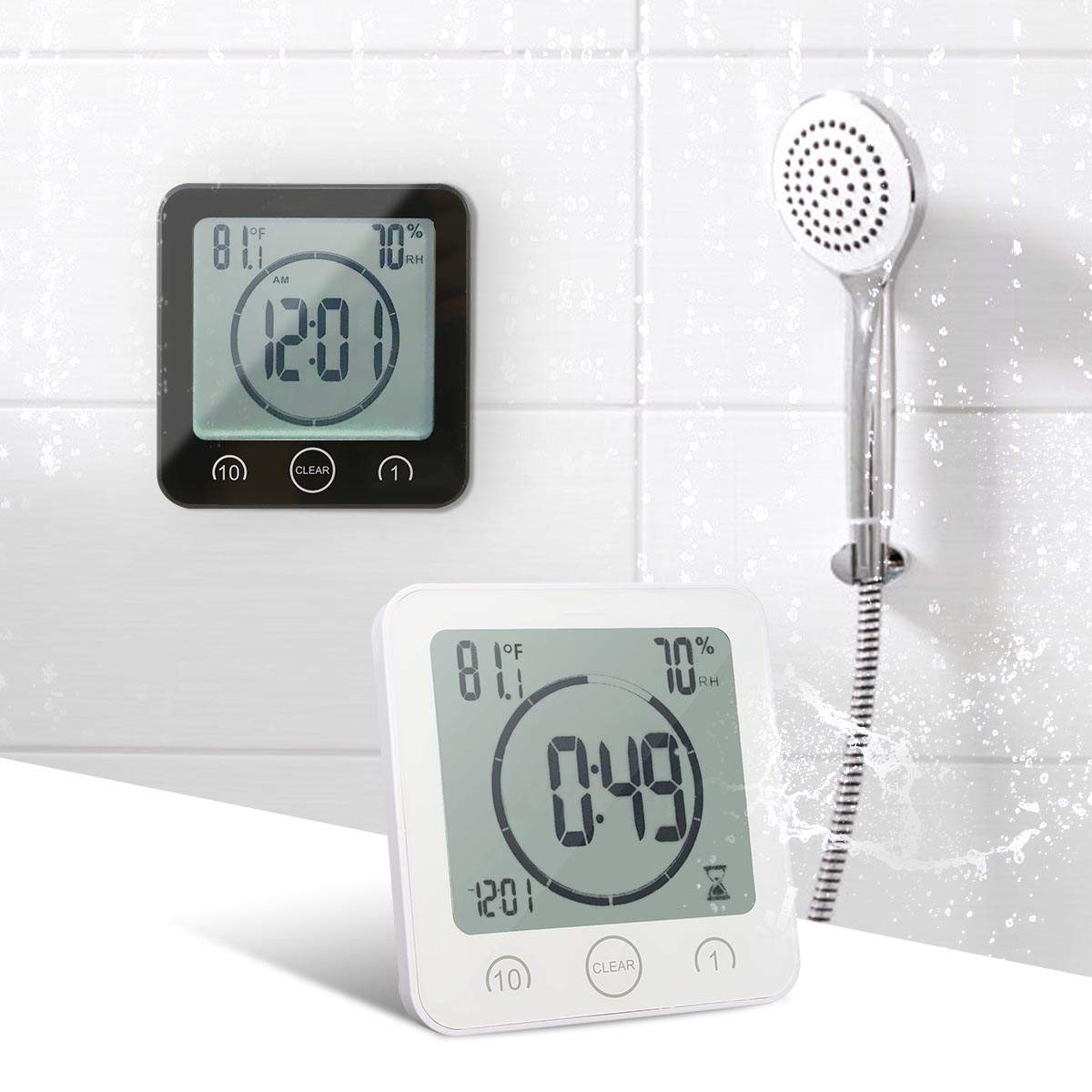 Waterproof LCD Digital Wall Clock Shower Suction Wall Stand Alarm Timer Temperature Humidity Bath Weather Station For Home(China)