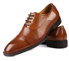 Large size EUR46 Black / Brown oxfords mens wedding shoes genuine leather business shoes mens office shoes