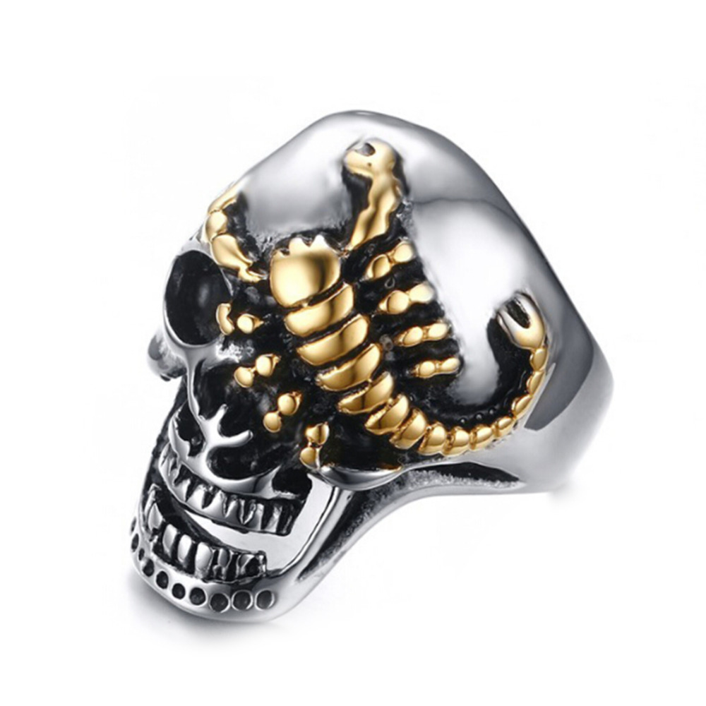 black head men online stainless skeleton for the biker products ravens skull goth band bikers rings golden hollow mens steel jewelry cool ring gold buy silver