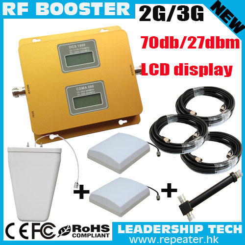 Cover 800m2 Free Shipping CDMA WCDMA W-CDMA 850MHZ/2100MHZ LCD Cellular Mobile/cell Phone Signal Repeater Booster Amplifier