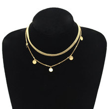 Fashion Multi-layer Round Sequins Choker Necklace Bead Chain Double Layered Clavicle Women Jewelry