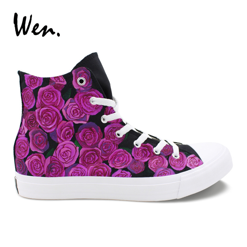 Wen Original Hand Painted Shoes Purple Roses Flower Designers Sneakers Women Top Canvas Shoes Mens High Plimsolls Floral Flat