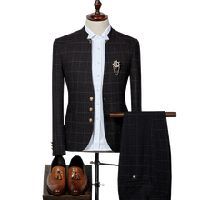 Mens Plaid Suits Latest Designs Chinese Style Stand Collar Business Slim Fit Groom Wedding Suit Formal Wear (Jacket+Pants) tian qiong mens black wool suits latest coat pant designs chinese style stand collar slim fit groom wedding suit formal wear