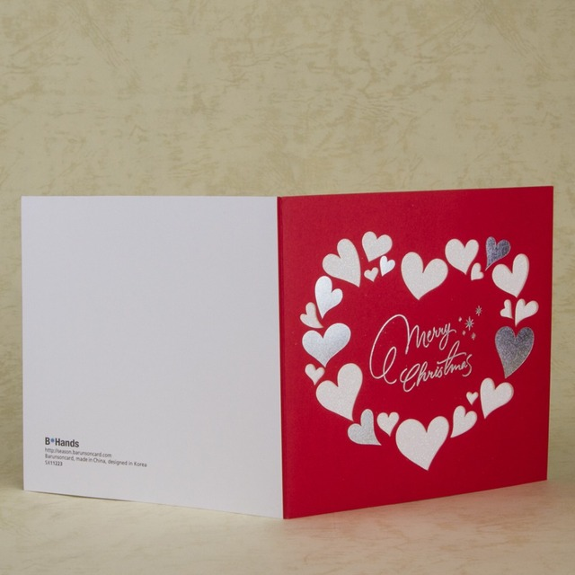 laser cut merry christmas cards heart design xmas greeting card new year gift card thank you