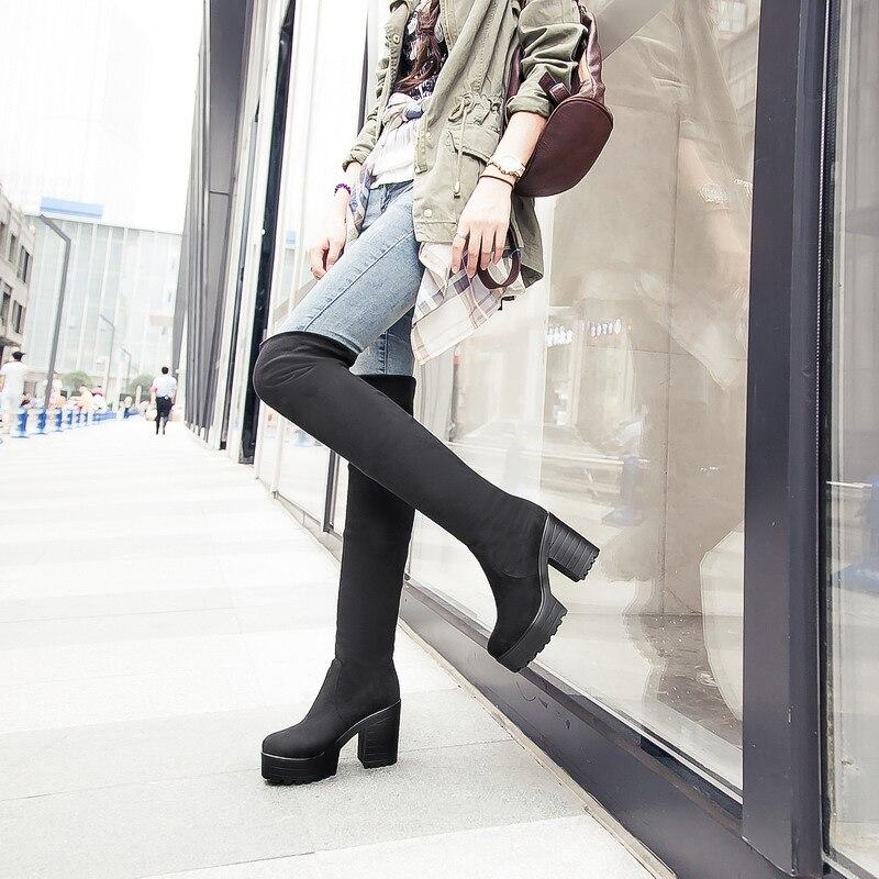 Online Get Cheap Chunky Heel Knee Platform Boots -Aliexpress.com ...