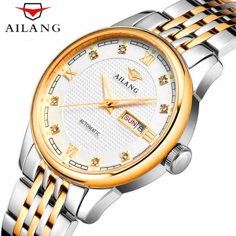AILANG Watches Men Famous Brand Luxury Automatic Mechanical Mens Watch Waterproof Full Steel Date Business Male Wrist Watch New ailang watches men famous brand luxury automatic mechanical mens watch waterproof full steel date business male wrist watch new