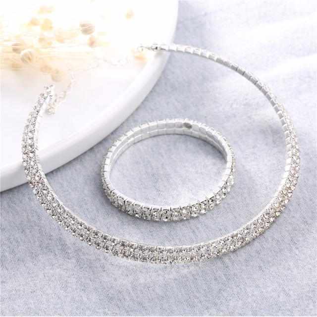 2017 torques bridal wedding women row layer jewelry sets zircon rhinestones pend