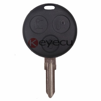 KEYECU10* New Uncut Remote Key Fob 3 Button+ Uncut Blade for Smart Fortwo Forfour City