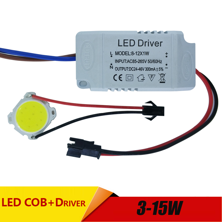 Купить с кэшбэком 3W 5W 7W 10W 12W 15W COB LED +driver power supply built-in constant current Lighting 85-265V Output 300mA Transformer
