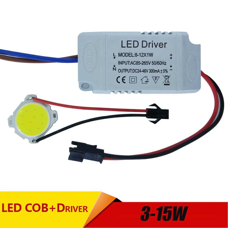 3W 5W 7W 10W 12W COB 15W LED + Driver Power Supply Built-In Konstan saat Ini Lampu 85-265V Output 300mA Transformer