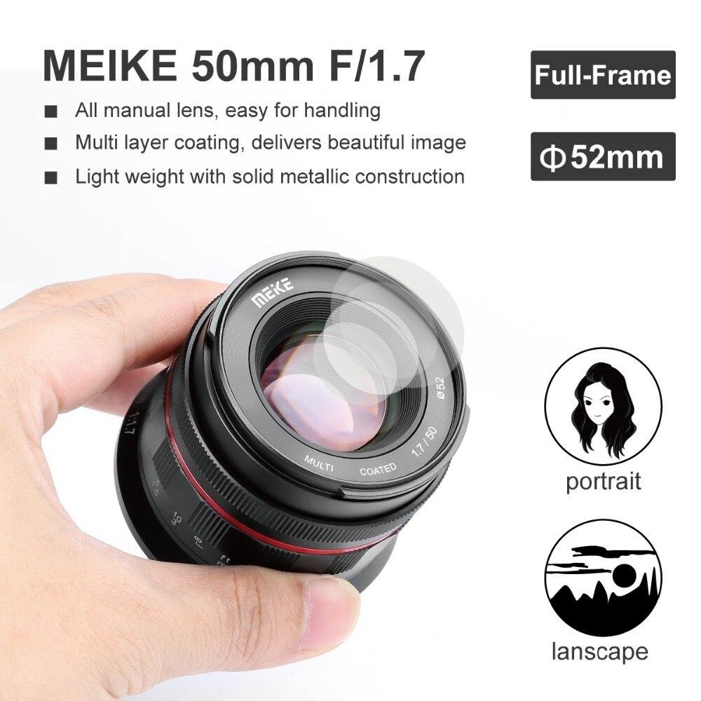 Objectif de mise au point manuelle à grande ouverture Meike MK 50mm f/1.7 pour appareils photo sans miroir à monture RF Canon EOS R avec cadre complet - 4