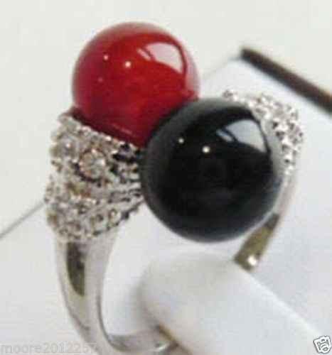 ขายส่งราคา16new ^^^^ใหม่ที่สวยงามของแท้ธรรมชาติสีดำและสีแดงหินแหวนเงินขนาด7-8 #