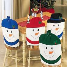 Christmas Decorations Happy Santa Red Hat Chair Back Party Cartoon Snowman Chair Cover Festival Decor Free Shipping