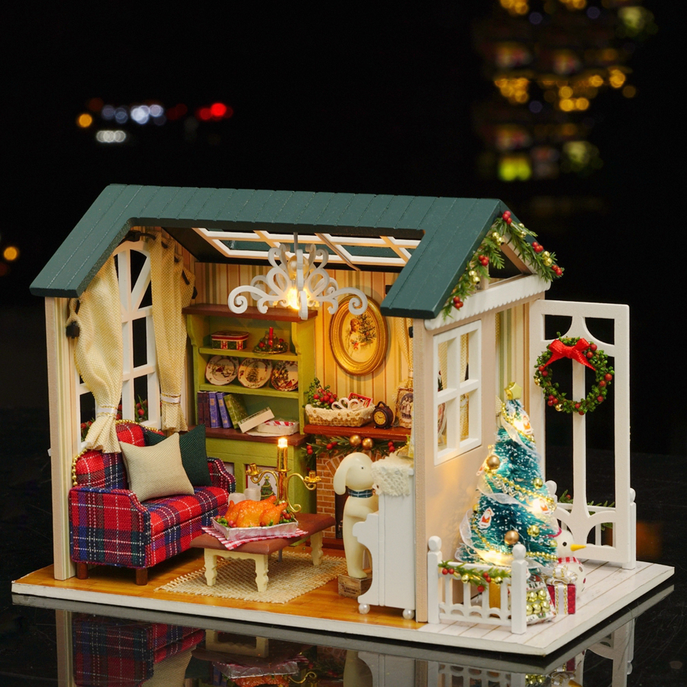 DIY Dollhouse Wooden Kit Corner of Living Room Sofa Furniture Set Xmas Gift