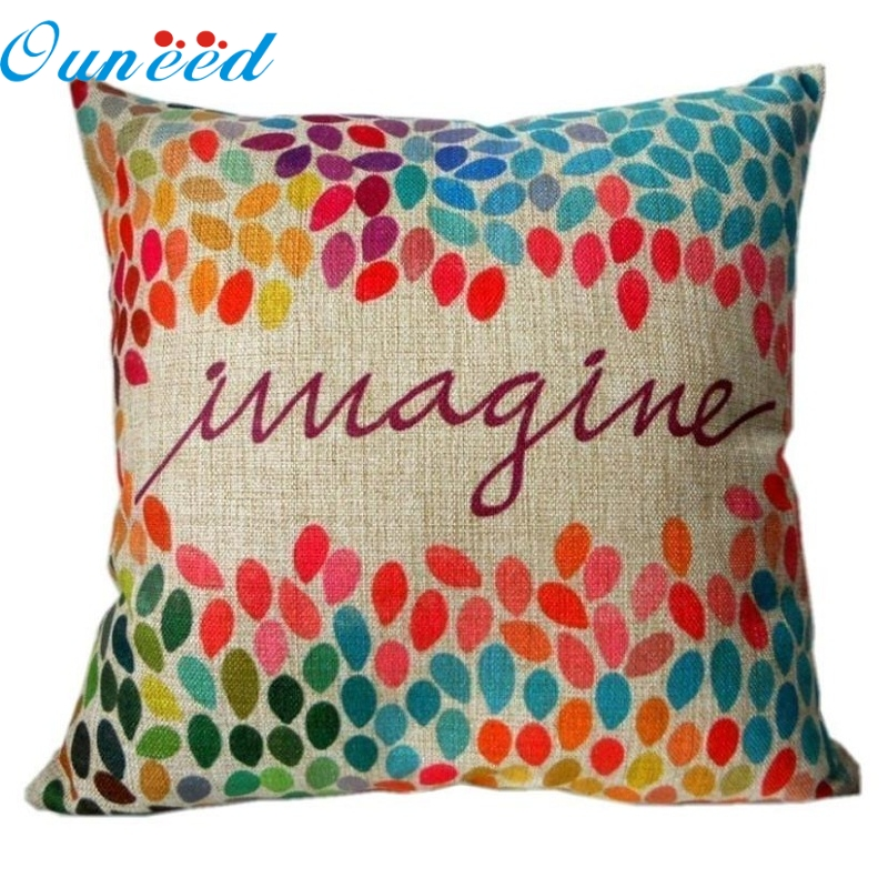 Mosunx Business   Cotton Linen Square Decor Throw cushion cover Colorful Imagine 18 inch