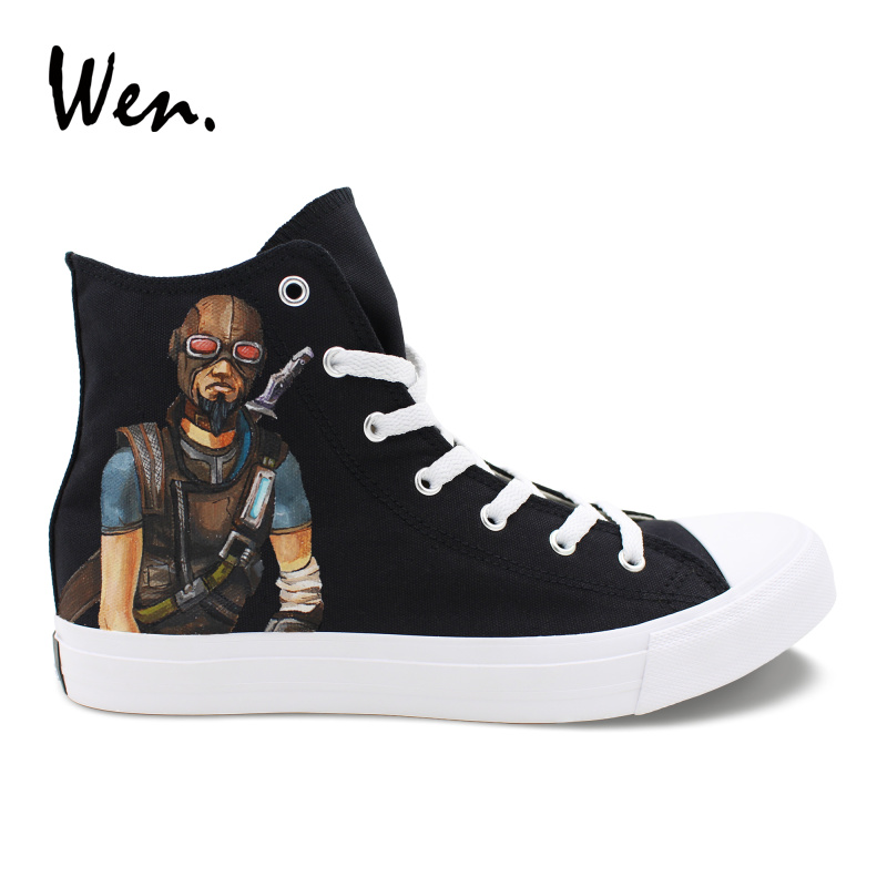 Wen Design Hand Painted Canvas Sneakers Borderlands Mordecai High Top Black Unisex Athletic Shoes Male's Skateboard Shoes wen design custom astronaut outer space moon galaxy hand painted black canvas sneakers high top adults unisex athletic shoes