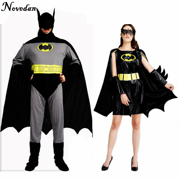 Adult Batman Party Halloween Bat Cosplay Costume Suit For Women Men Superhero Costumes With Mask Cape