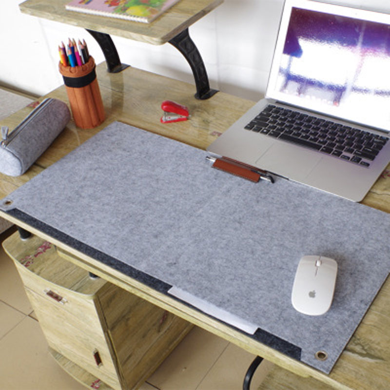 Felt Large Mouse Pad 670*330mm Multi-function Mousepad Mouse Mat Keyboard Mat Table Mat With Pen Jack And Storage Bag