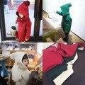 Primavera inverno crianças suéter de cashmere com capuz crianças hoodies com chapéu pontudo bruxa roupas meninos das meninas do bebê pure color quente