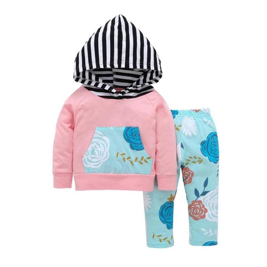 Мать гнездо зимняя Милая теплая одежда для малышей Комплект Цветочные Топы с капюшоном и длинные штаны Нарядная одежда для малышей младенц...
