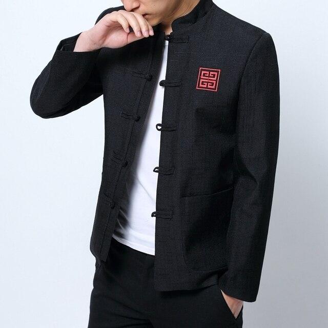 Ropa china tradicional para hombre chino Blazers mens cuello mao Chaquetas  vintage ropa casual Vestidos de d4f5e9e0ab66