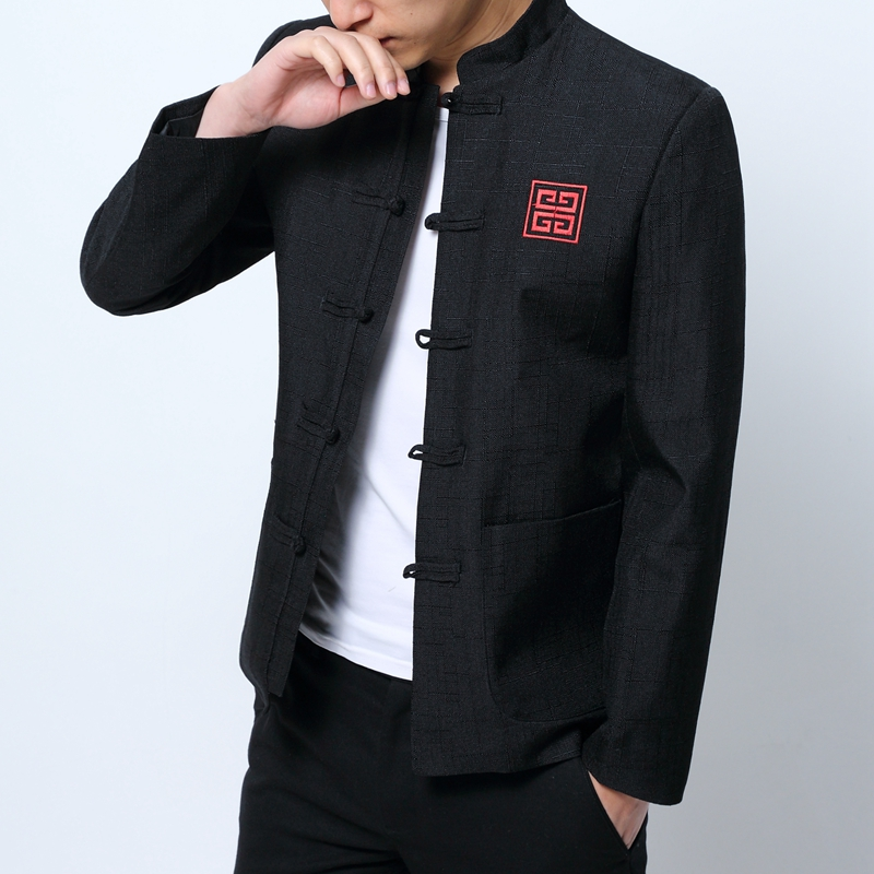 Traditional Chinese Garments Mens Chinese Blazers Mens Mandarin Collar Jackets Vintage Casual Mens Clothing Dresses Of The Tang