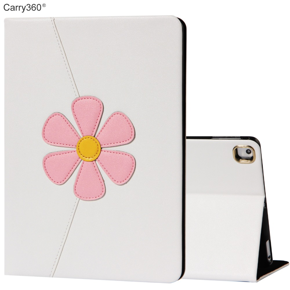 Case for iPad Air 2, Carry360 New Luxury Fashion Flower PU Leather Smart Cover for iPad Air 1 Pro 9.7 for iPad 2017 9.7 inch for ipad air glittery powder imprint butterfly flower leather smart casing rose gold