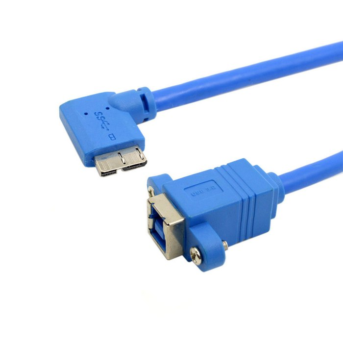 (100 pieces/lot) USB 3.0 Type B Female to Micro B 90 Degree Left Angled Cable with Panel Mount Screw Holes 20cm
