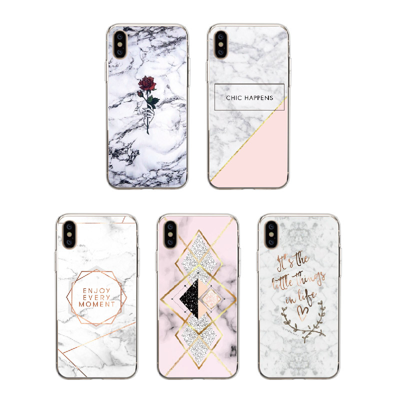 Fashion Geometric Marble Texture Soft Clear Transparent Printed Case For iPhone 7 7Plus 6S 6Plus 8 8Plus X XS Max SAMSUNG S9