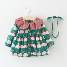 Children Autumn Winter Long Sleeve Baby Infants Girls Kids Printed Cherry Velvet Princess Party Dress Vestidos+Hairband S7480